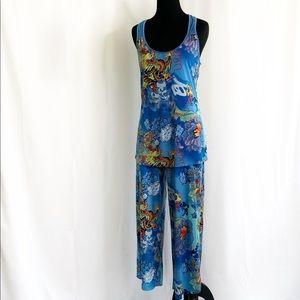 Josie Natori 2 Piece Pajamas Asian Dragon Print